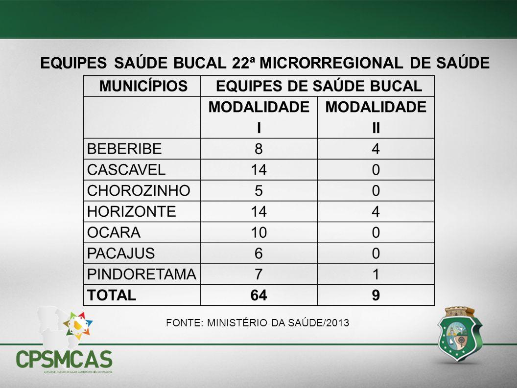 FONTE: MINISTÉRIO DA SAÚDE/2013