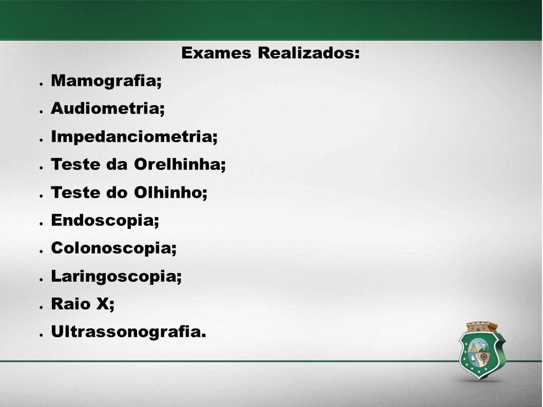 Exames Realizados: Mamografia; Audiometria; Impedanciometria; Teste da Orelhinha; Teste do Olhinho;