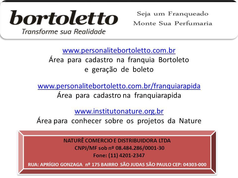 Área para cadastro na franquia Bortoleto e geração de boleto