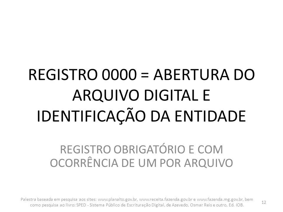 REGISTRO OBRIGATÓRIO E COM OCORRÊNCIA DE UM POR ARQUIVO