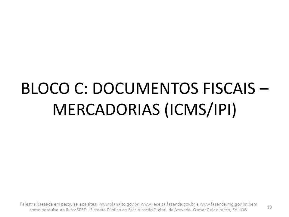 BLOCO C: DOCUMENTOS FISCAIS – MERCADORIAS (ICMS/IPI)