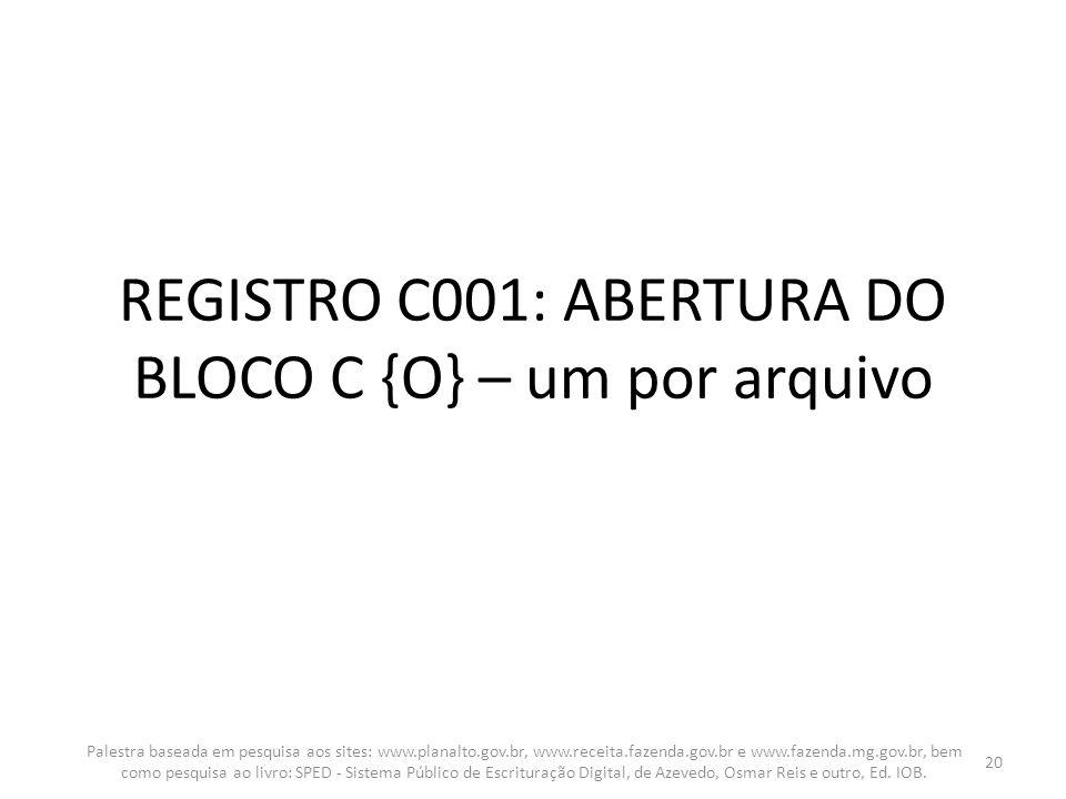 REGISTRO C001: ABERTURA DO BLOCO C {O} – um por arquivo