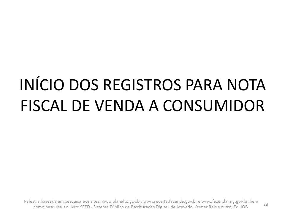 INÍCIO DOS REGISTROS PARA NOTA FISCAL DE VENDA A CONSUMIDOR