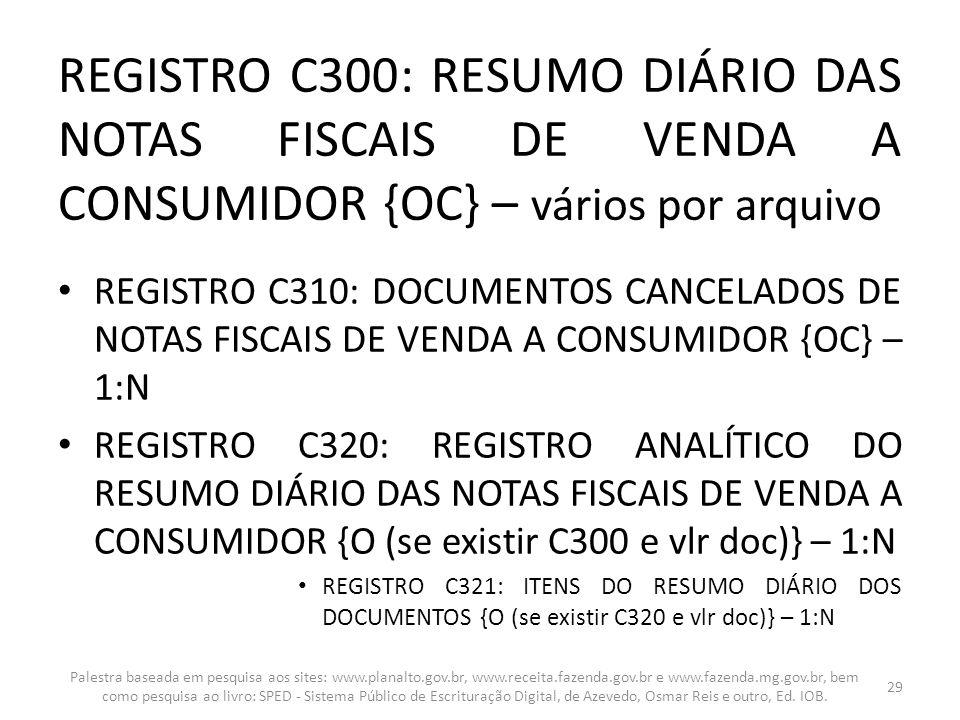 REGISTRO C300: RESUMO DIÁRIO DAS NOTAS FISCAIS DE VENDA A CONSUMIDOR {OC} – vários por arquivo