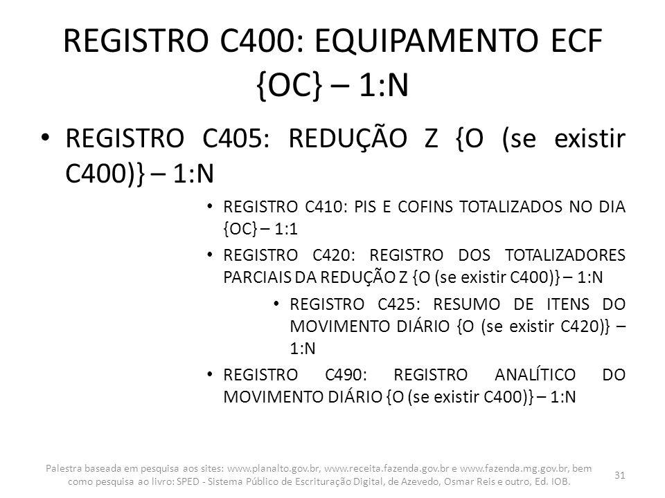 REGISTRO C400: EQUIPAMENTO ECF {OC} – 1:N