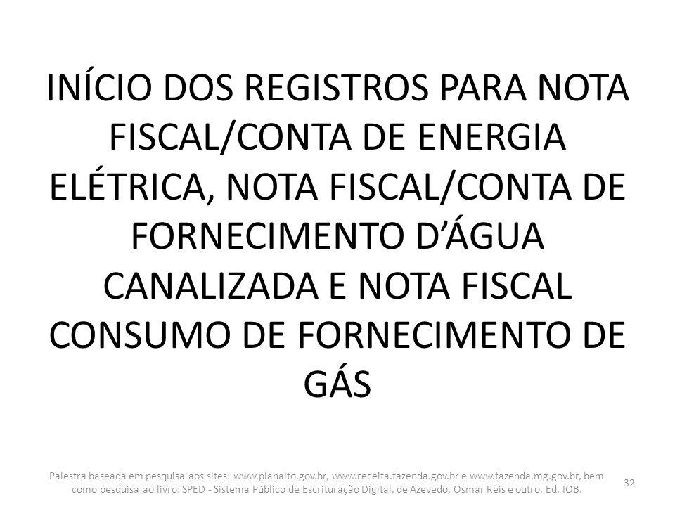 INÍCIO DOS REGISTROS PARA NOTA FISCAL/CONTA DE ENERGIA ELÉTRICA, NOTA FISCAL/CONTA DE FORNECIMENTO D'ÁGUA CANALIZADA E NOTA FISCAL CONSUMO DE FORNECIMENTO DE GÁS