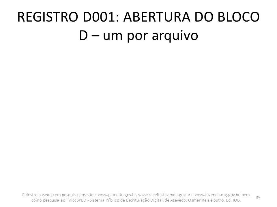 REGISTRO D001: ABERTURA DO BLOCO D – um por arquivo