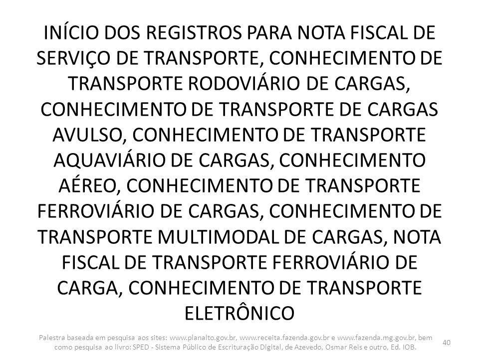 INÍCIO DOS REGISTROS PARA NOTA FISCAL DE SERVIÇO DE TRANSPORTE, CONHECIMENTO DE TRANSPORTE RODOVIÁRIO DE CARGAS, CONHECIMENTO DE TRANSPORTE DE CARGAS AVULSO, CONHECIMENTO DE TRANSPORTE AQUAVIÁRIO DE CARGAS, CONHECIMENTO AÉREO, CONHECIMENTO DE TRANSPORTE FERROVIÁRIO DE CARGAS, CONHECIMENTO DE TRANSPORTE MULTIMODAL DE CARGAS, NOTA FISCAL DE TRANSPORTE FERROVIÁRIO DE CARGA, CONHECIMENTO DE TRANSPORTE ELETRÔNICO