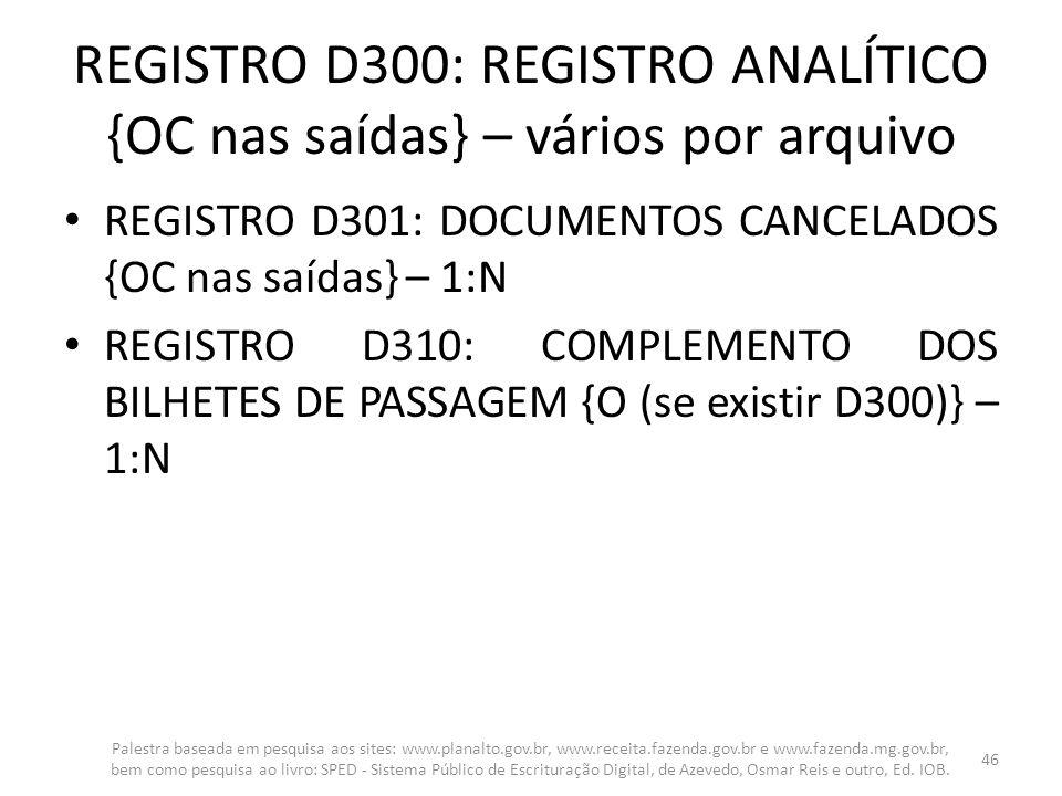 REGISTRO D300: REGISTRO ANALÍTICO {OC nas saídas} – vários por arquivo