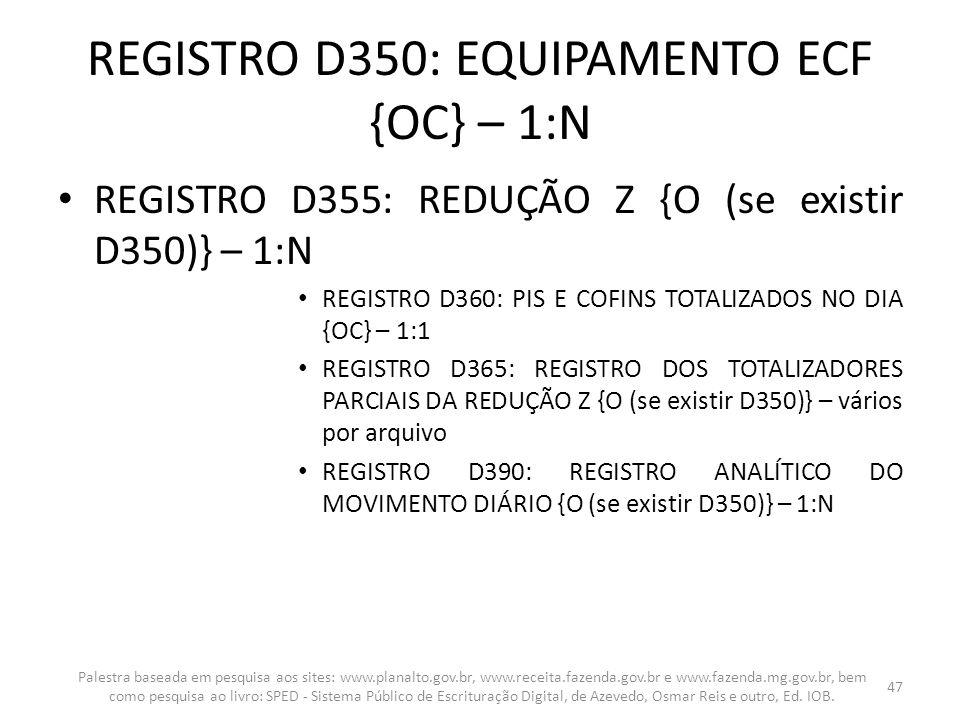 REGISTRO D350: EQUIPAMENTO ECF {OC} – 1:N