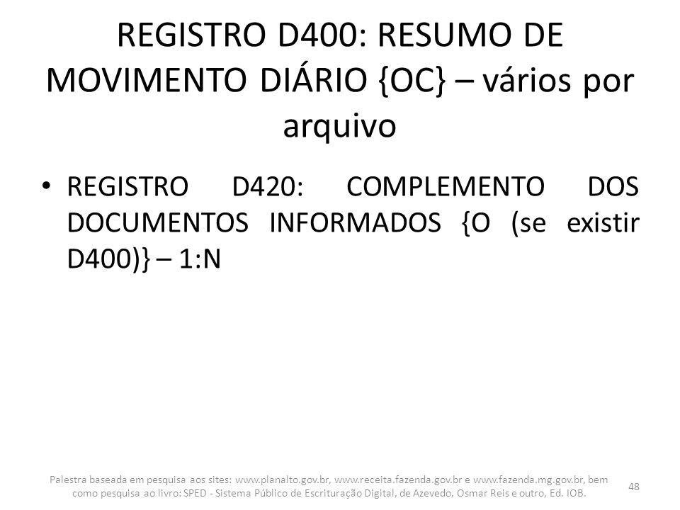 REGISTRO D400: RESUMO DE MOVIMENTO DIÁRIO {OC} – vários por arquivo