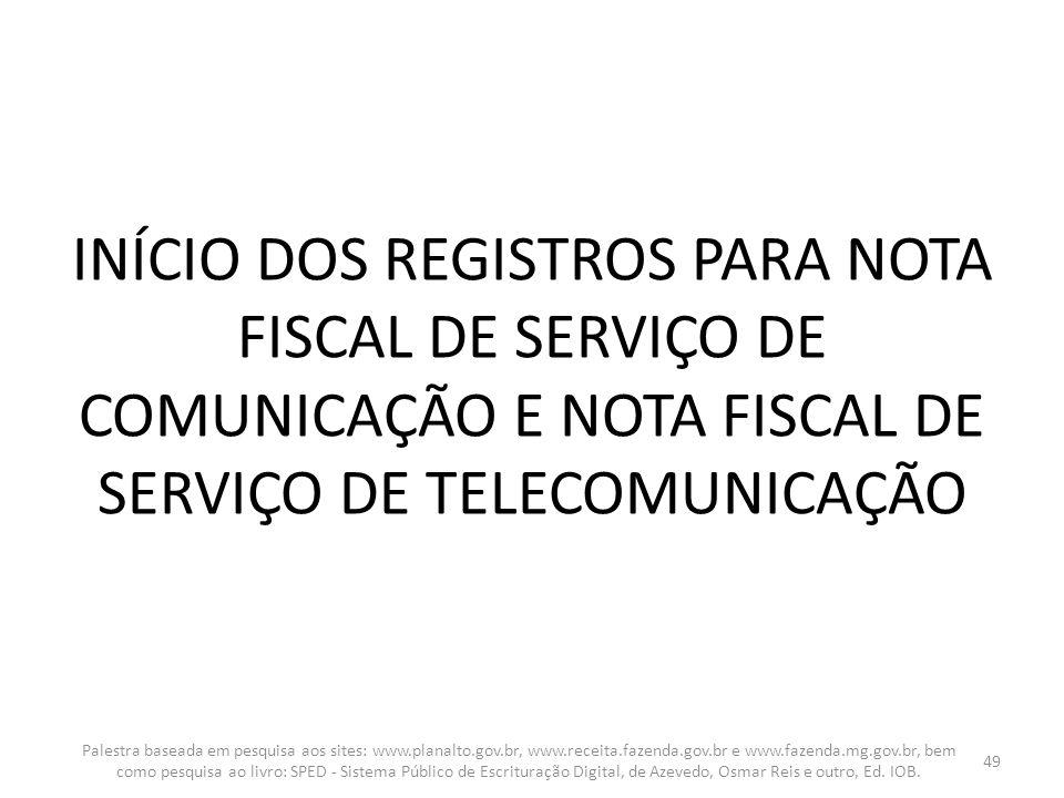 INÍCIO DOS REGISTROS PARA NOTA FISCAL DE SERVIÇO DE COMUNICAÇÃO E NOTA FISCAL DE SERVIÇO DE TELECOMUNICAÇÃO