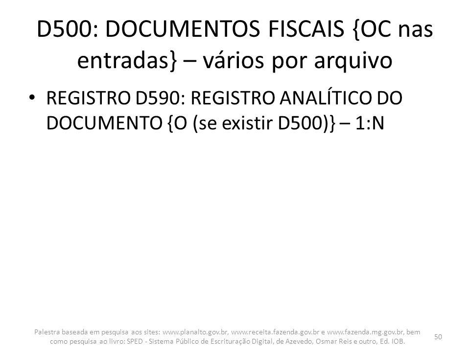 D500: DOCUMENTOS FISCAIS {OC nas entradas} – vários por arquivo