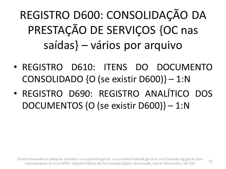 REGISTRO D600: CONSOLIDAÇÃO DA PRESTAÇÃO DE SERVIÇOS {OC nas saídas} – vários por arquivo