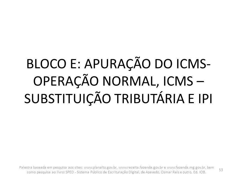 BLOCO E: APURAÇÃO DO ICMS-OPERAÇÃO NORMAL, ICMS – SUBSTITUIÇÃO TRIBUTÁRIA E IPI