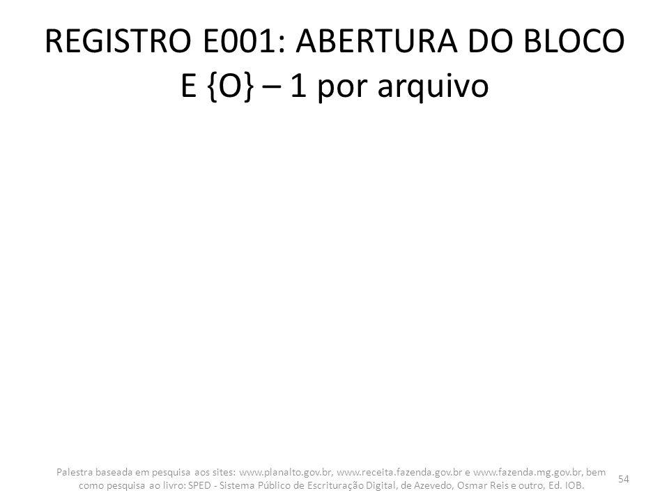 REGISTRO E001: ABERTURA DO BLOCO E {O} – 1 por arquivo