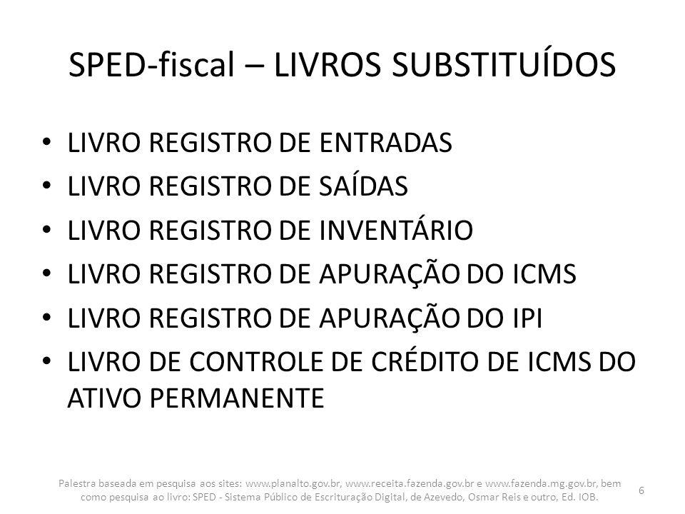 SPED-fiscal – LIVROS SUBSTITUÍDOS