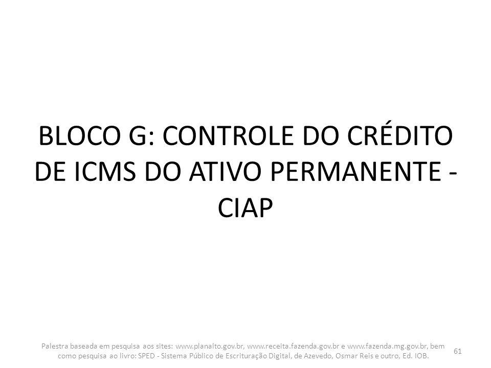 BLOCO G: CONTROLE DO CRÉDITO DE ICMS DO ATIVO PERMANENTE - CIAP