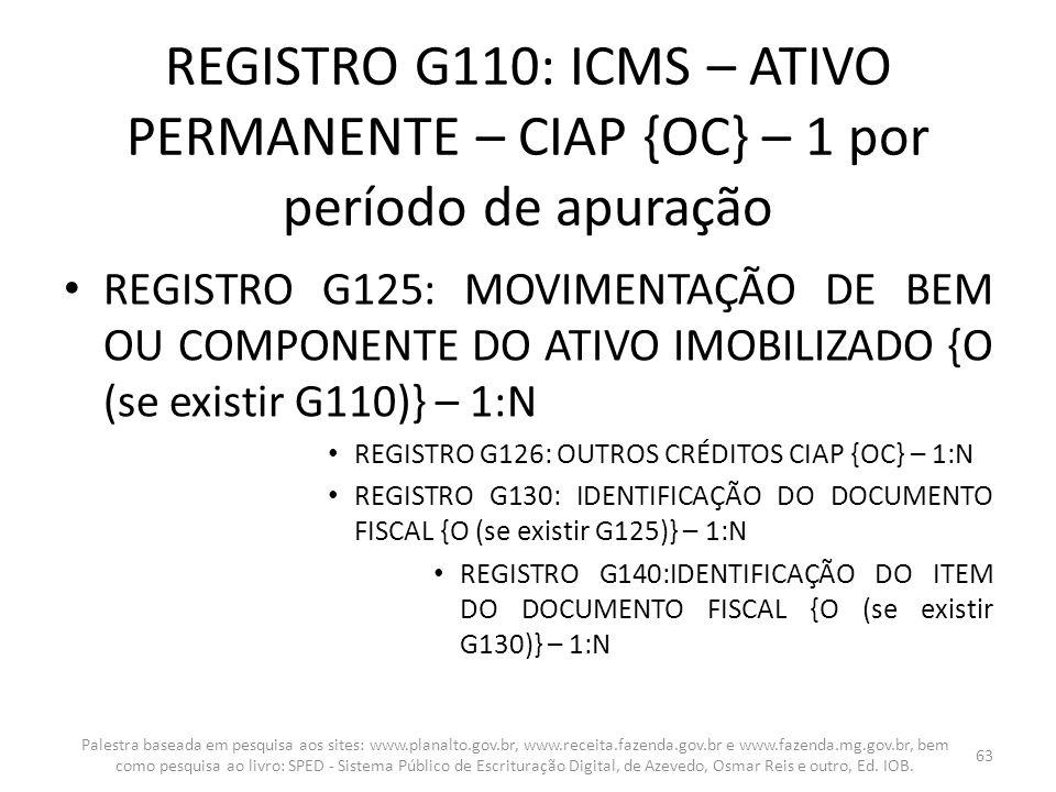 REGISTRO G110: ICMS – ATIVO PERMANENTE – CIAP {OC} – 1 por período de apuração
