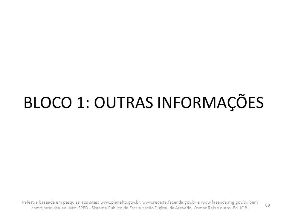 BLOCO 1: OUTRAS INFORMAÇÕES