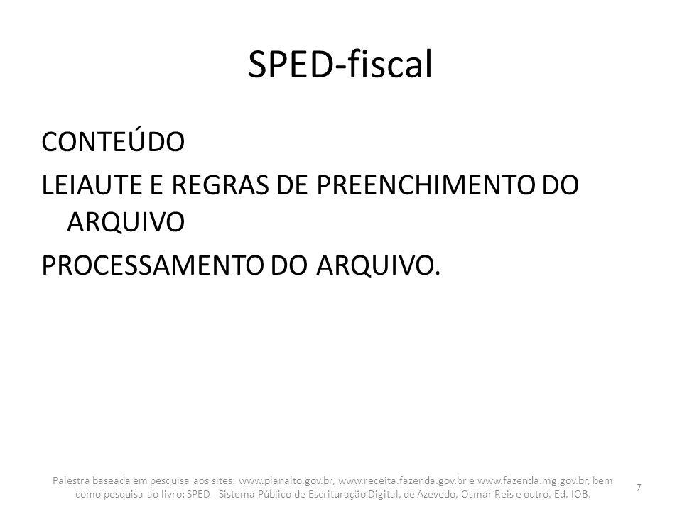 SPED-fiscal CONTEÚDO LEIAUTE E REGRAS DE PREENCHIMENTO DO ARQUIVO PROCESSAMENTO DO ARQUIVO.
