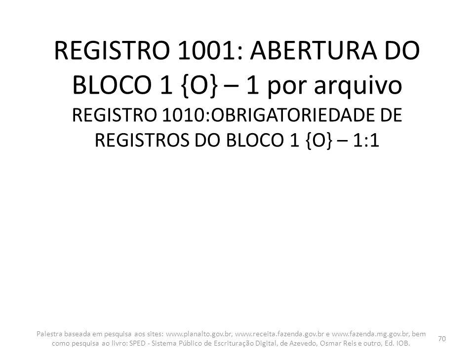 REGISTRO 1001: ABERTURA DO BLOCO 1 {O} – 1 por arquivo REGISTRO 1010:OBRIGATORIEDADE DE REGISTROS DO BLOCO 1 {O} – 1:1