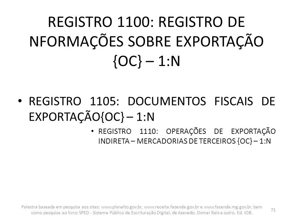 REGISTRO 1100: REGISTRO DE NFORMAÇÕES SOBRE EXPORTAÇÃO {OC} – 1:N
