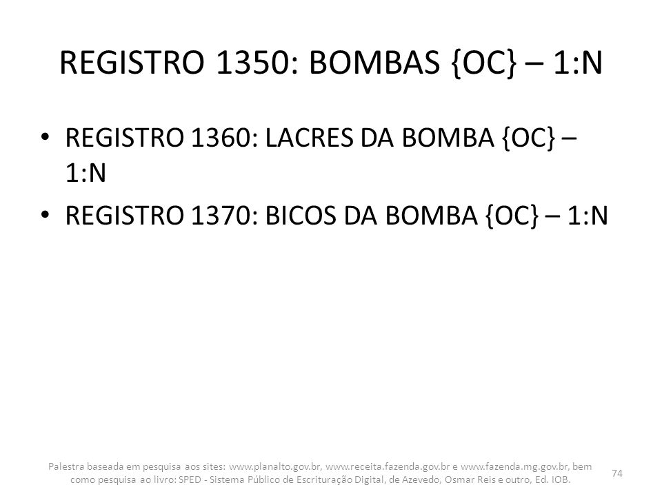 REGISTRO 1350: BOMBAS {OC} – 1:N