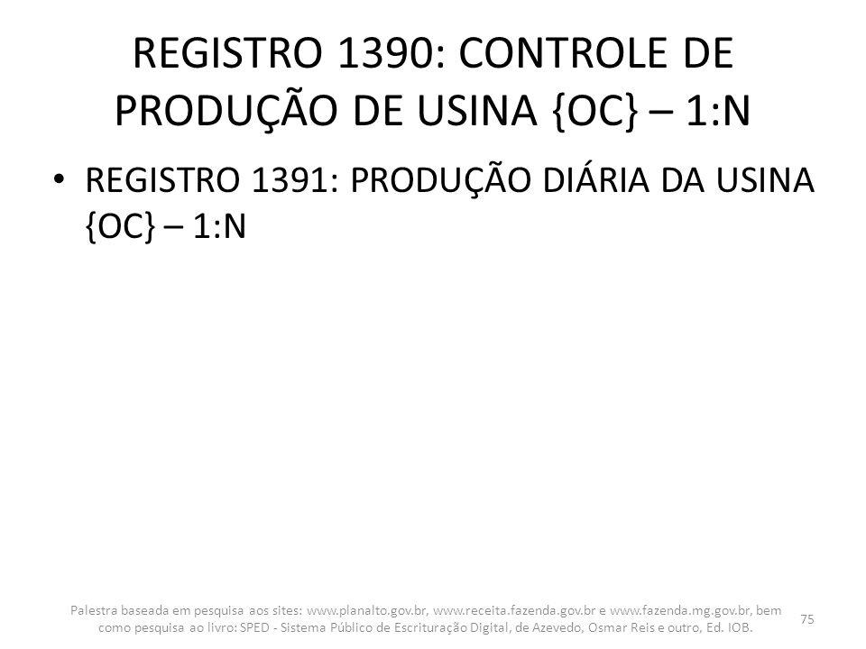 REGISTRO 1390: CONTROLE DE PRODUÇÃO DE USINA {OC} – 1:N