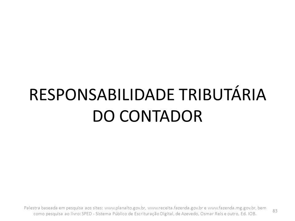 RESPONSABILIDADE TRIBUTÁRIA DO CONTADOR