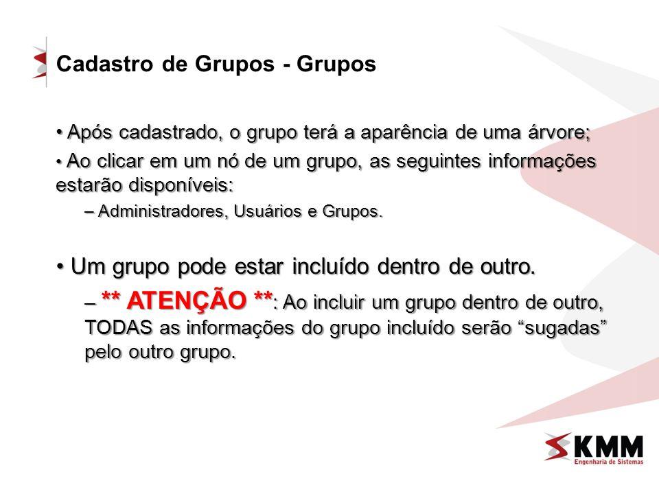Cadastro de Grupos - Grupos