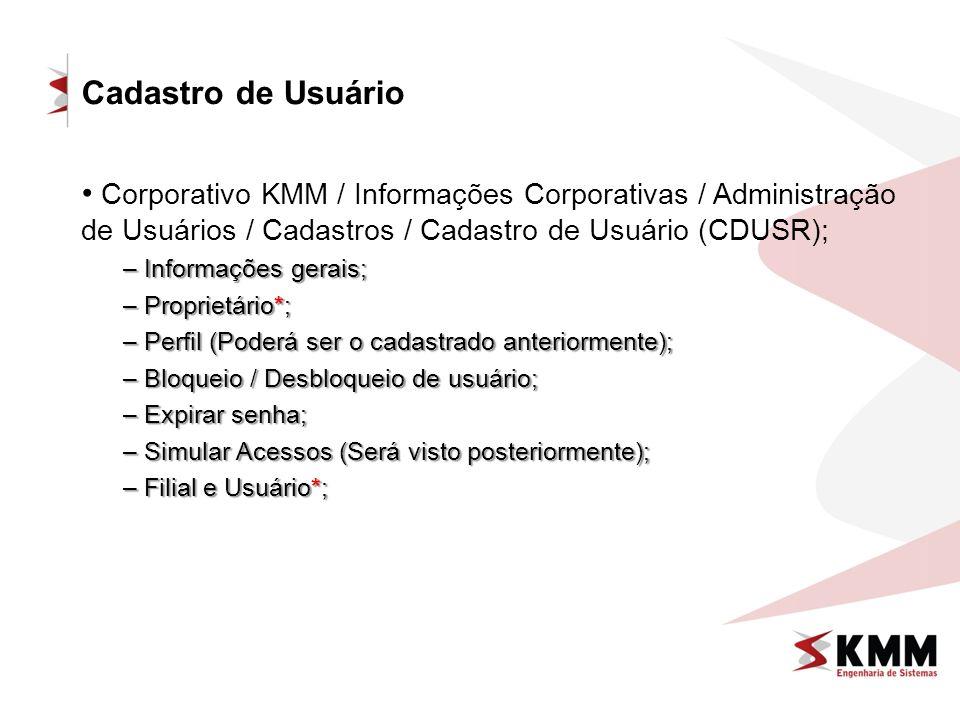 Cadastro de Usuário Corporativo KMM / Informações Corporativas / Administração de Usuários / Cadastros / Cadastro de Usuário (CDUSR);