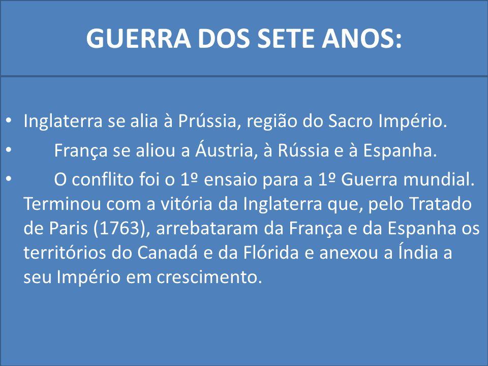 GUERRA DOS SETE ANOS: Inglaterra se alia à Prússia, região do Sacro Império. França se aliou a Áustria, à Rússia e à Espanha.