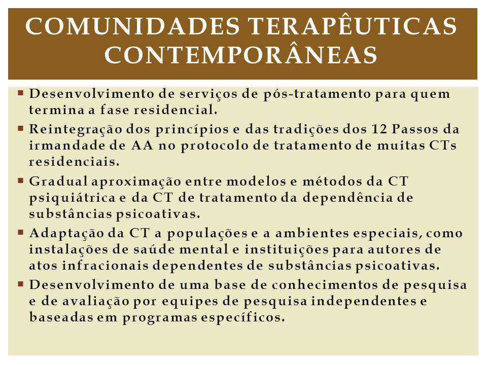 Comunidades terapêuticas contemporâneas