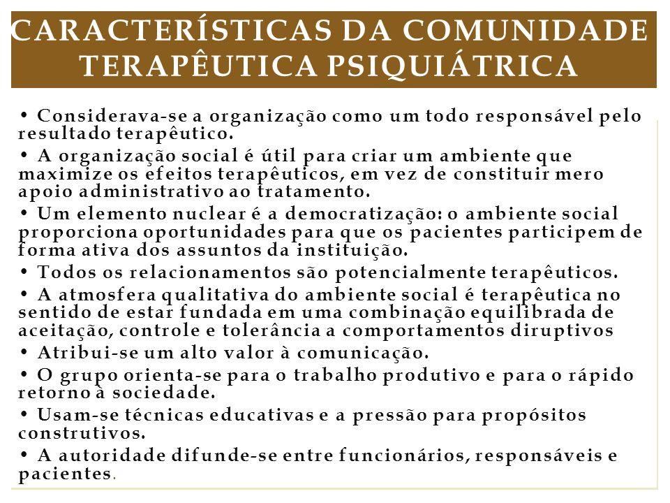 C características da comunidade terapêutica psiquiátrica