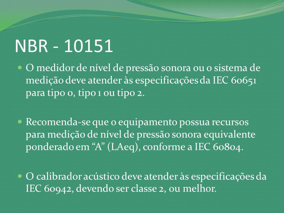 NBR - 10151 O medidor de nível de pressão sonora ou o sistema de medição deve atender às especificações da IEC 60651 para tipo 0, tipo 1 ou tipo 2.