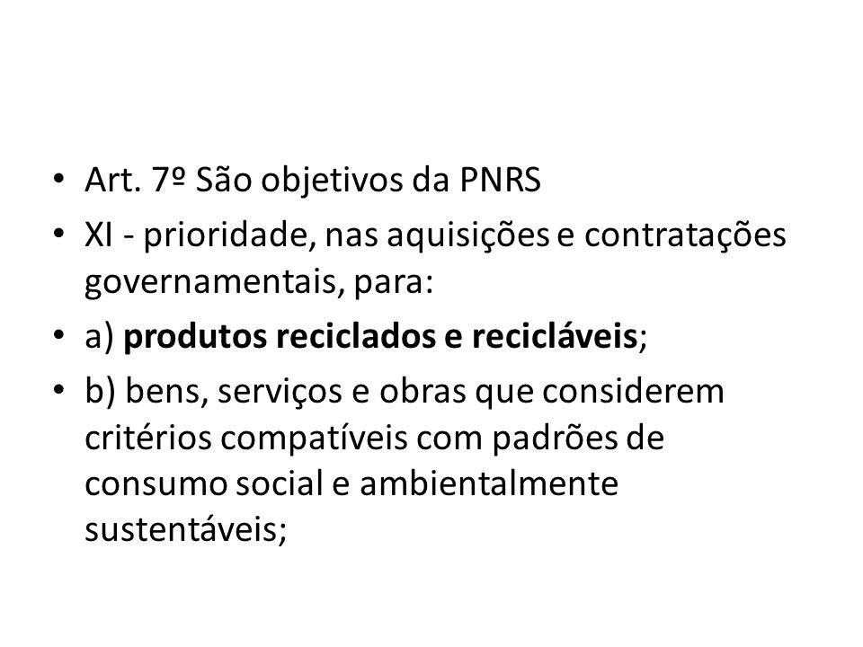 Art. 7º São objetivos da PNRS