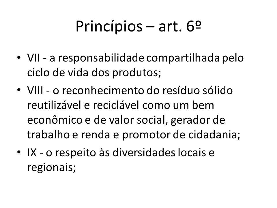 Princípios – art. 6º VII - a responsabilidade compartilhada pelo ciclo de vida dos produtos;