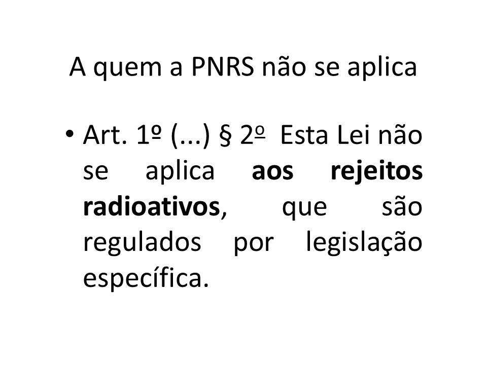A quem a PNRS não se aplica
