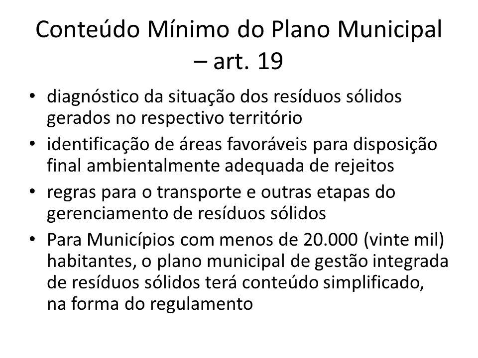 Conteúdo Mínimo do Plano Municipal – art. 19