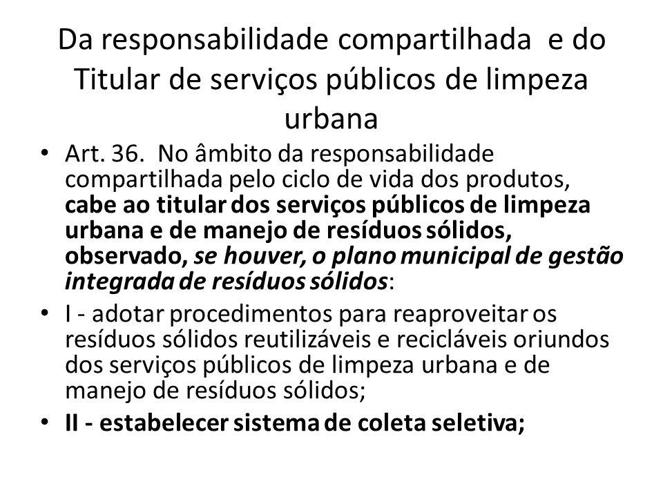 Da responsabilidade compartilhada e do Titular de serviços públicos de limpeza urbana