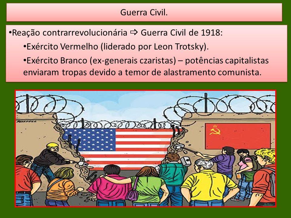 Guerra Civil. Reação contrarrevolucionária  Guerra Civil de 1918: Exército Vermelho (liderado por Leon Trotsky).