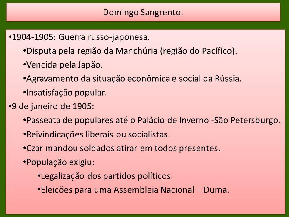 Domingo Sangrento. 1904-1905: Guerra russo-japonesa. Disputa pela região da Manchúria (região do Pacífico).