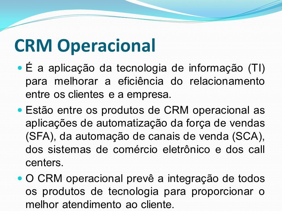 CRM Operacional É a aplicação da tecnologia de informação (TI) para melhorar a eficiência do relacionamento entre os clientes e a empresa.