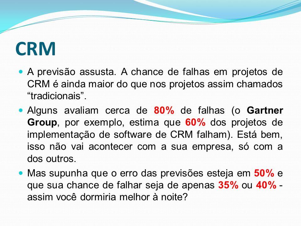 CRM A previsão assusta. A chance de falhas em projetos de CRM é ainda maior do que nos projetos assim chamados tradicionais .