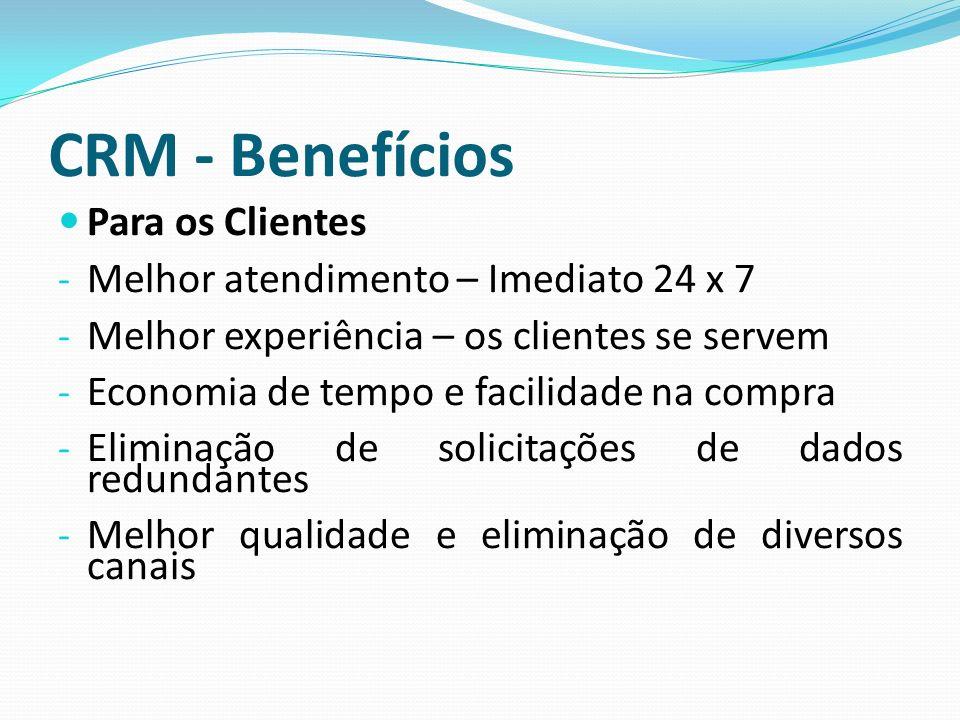 CRM - Benefícios Para os Clientes Melhor atendimento – Imediato 24 x 7