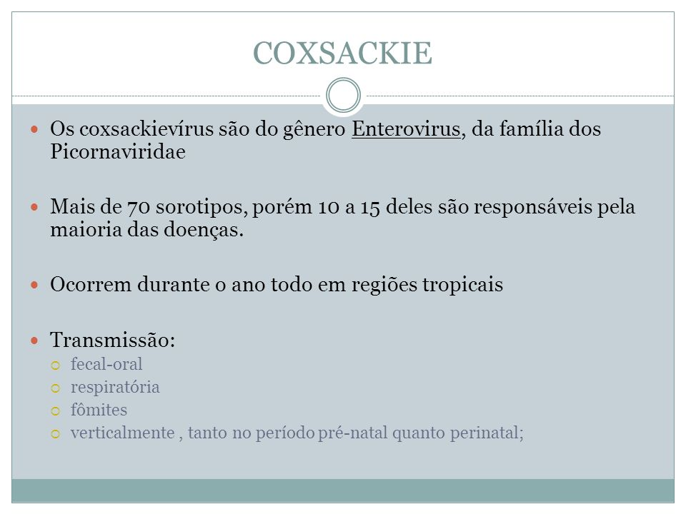 COXSACKIE Os coxsackievírus são do gênero Enterovirus, da família dos Picornaviridae.