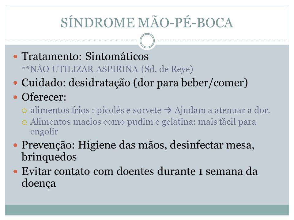 SÍNDROME MÃO-PÉ-BOCA Tratamento: Sintomáticos