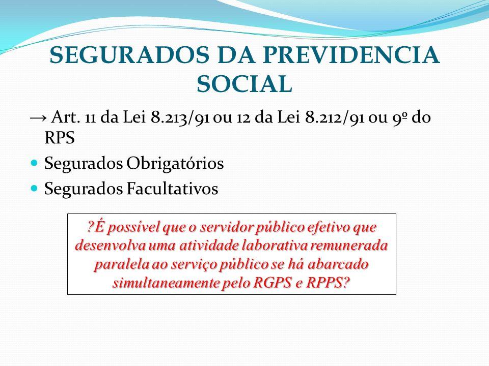 SEGURADOS DA PREVIDENCIA SOCIAL