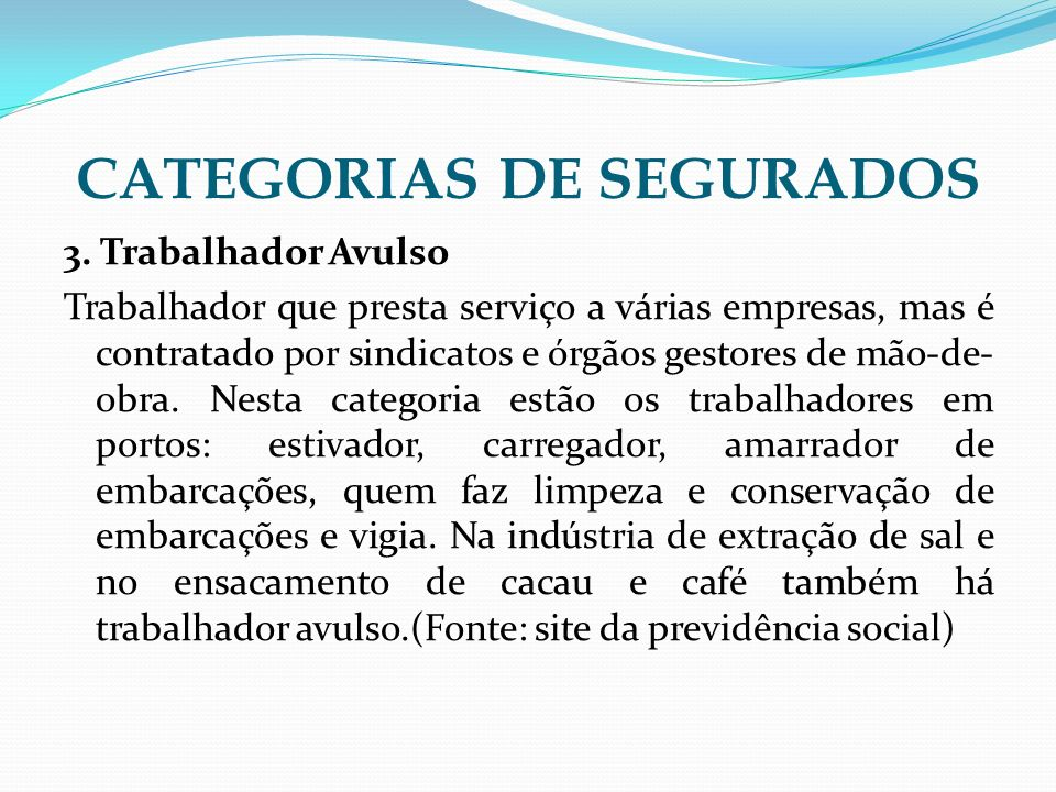 CATEGORIAS DE SEGURADOS